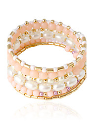 Bracelet Bangles Alloy / Imitation Pearl Tube Imitation Pearl Wedding / Party / Daily / Casual Jewelry Gift White / Pink,1pc