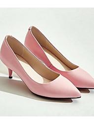 Damen-High Heels-Outddor-Leder-Stöckelabsatz-Absätze-Schwarz / Rosa / Weiß