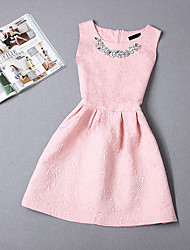 Women's Party/Cocktail / Going out Cute Plus Size / Skater Dress,Jacquard Round Neck Mini Sleeveless Pink / Red / White / BlackPolyester