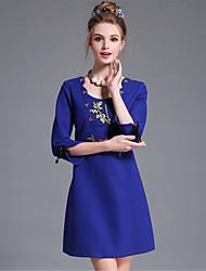 aofuli mulheres plus size europa bordado sólida vintage simples arco 3/4 festa vestido de manga / diária