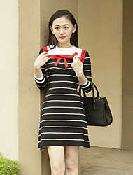 Boutique S Women's Going out Vintage Sweater Dress,Striped Round Neck Above Knee ¾ Sleeve Black Others Fall