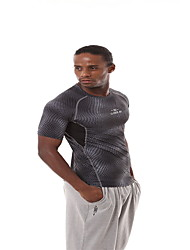 Running Tops Men's Short Sleeve Breathable Polyester Fitness / Leisure Sports / Badminton / Cycling Running Sports Wear