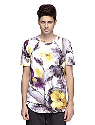 Tee-Shirt Pour des hommes A Motifs Décontracté Manches Courtes Polyester / Spandex Blanc