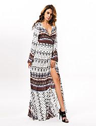 In Colour Women's Deep V Long Sleeve Maxi Dress-1239