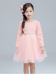A-line Knee-length Flower Girl Dress - Cotton / Satin / Tulle Long Sleeve Jewel with Flower(s) / Sash / Ribbon