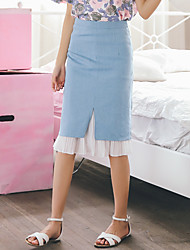Women's Solid Blue / White Skirts,Cute Midi
