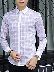 Men's Plaids Casual Shirt,Cotton Long Sleeve Blue / Green / Gray