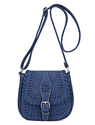 Women PU Casual Fresh Braided Hollow Side Messenger Buckle Shoulder Saddle Bags