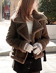 Feminino Curto Casaco Acolchoado,Simples Sólido Casual / Para Noite-Pêlo de Cordeiro Lã Manga Longa Colarinho de Camisa Preto / Marrom