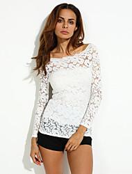 Tee-shirt Femme,Couleur Pleine Décontracté / Quotidien simple Automne Manches Longues Bateau Rouge / Blanc / Noir Spandex Moyen