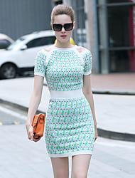 iloveknitting femmes sortant jolie robe pull, géométrique court été manches