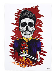 1pc Cool Punk Skull Bone Prince Knight Pattern Body Arm Art Temporary Tattoo Sticker for Women Men HB-423
