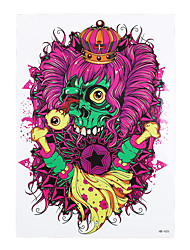 1pc Dangerous Skull Bone Curly Hair Pattern Body Arm Art Temporary Tattoo Sticker for Women Men HB-426
