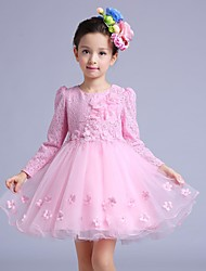 A-line Knee-length Flower Girl Dress - Cotton / Lace / Tulle Long Sleeve Jewel with Beading / Bow(s) / Flower(s)