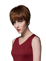 Layered Short Straight Human Hair Capless Wigs