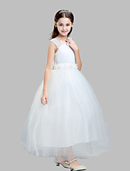 Ball Gown Ankle-length Flower Girl Dress - Cotton Satin Tulle Straps with Flower(s) Sash / Ribbon