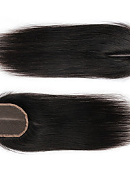 "Indian Virgin Hair 4X4"" Silk Straight Human Hair Lace Closure Bleached Knots With Baby Hair"