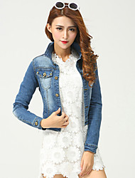 Women's Casual/Daily Street chic Fall Slim Short Denim Jackets,Solid Shirt Collar Long Sleeve Blue Cotton Medium