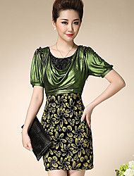 Women's Formal Vintage Bodycon Dress,Patchwork Round Neck Above Knee Short Sleeve Green Polyester Summer
