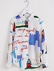 Girl's Casual/Daily Print Blouse,Polyester Fall White