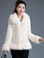 Women's Plus Size / Casual/Daily / Party/Cocktail Simple Fur Coat,Solid / Color Block Shirt Collar Long Sleeve Fall /