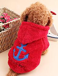 Gatos / Cães Camisola com Capuz Vermelho / Azul / Branco / Cinzento / Rosa Roupas para Cães Inverno / Primavera/Outono MarinheiroFofo /