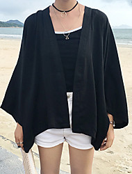 Women's Flare Sleeve Casual/Daily Simple Summer Cloak/Capes,Solid Halter Long Sleeve Black Polyester Medium
