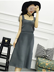 Women's Casual/Daily Simple Sweater Dress,Solid Boat Neck Midi Sleeveless Pink / Black Cotton Summer