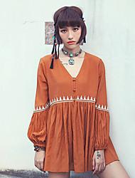 Aporia.As® Damen V-Ausschnitt Lange Ärmel Shirt & Bluse Orange-MZ10038