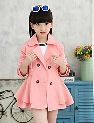 Girl's Casual/Daily Solid Trench Coat,Cotton Spring / Fall Multi-color