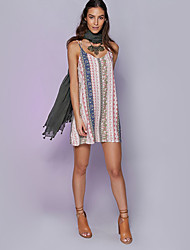 Women's Casual/Daily Sexy Loose Dress,Print Strap Mini Sleeveless Pink Cotton Summer