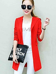 Women's Casual/Daily Street chic Simple All Match Fall Jackets,Solid Hooded Long Sleeve