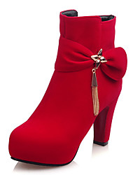 Women's Boots Fashion Boots / Round Toe Fleece Party & Evening / Dress / Casual Chunky Heel Buckle / Zipper / Chain