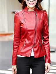 Женский На каждый день Осень Кожаные куртки Рубашечный воротник,Уличный стиль Однотонный Красный / Черный Длинный рукав,Полиуретановая,