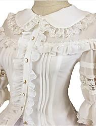 Bluse / Hemd Niedlich Lolita Cosplay Lolita Kleider Schwarz Weiß einfarbig 3/4-Ärmel Lolita Kleid Für FRP