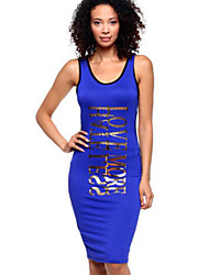 Women's Casual/Daily Simple Bodycon Over Hip Club Dress,Letter U Neck Knee-length Sleeveless