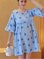 Maternity Holiday Cute Loose Dress,Above Knee ½ Length Sleeve Blue / Green / Yellow Cotton / Linen Summer