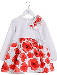 Girl's Casual/Daily Print Dress,Cotton Winter / Fall White