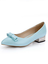 Women's Low Heels Soft Material Solid Pull On Pointed Closed Toe Pumps-Shoes