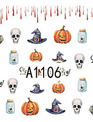 1pcs Nail Art Halloween Sticker Skull Interesting Animal Pumpkin DIY Nail Art Decoration A1106-1110