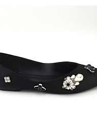 Women's Flats shoes Satin Wedding / Dress / Casual Flat shoes Heel Crystal decoration shoes