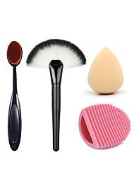 2 x Makeup Brush Set (Powder Blush Foundation Brush+ Sponge Puff + Contour Brushes Pincel Maquiagem)