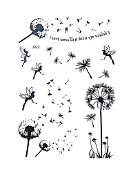 1pc Black Henna Temporary Tattoo Flower Fairy Dandelion Woman Body Art Tattoo Sticker BJ022