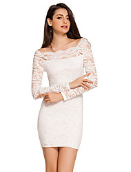 Women's Floral Lace Overlay Boat Neck Mini Dress