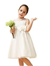 Robe de Soirée Mi-long Robe de Demoiselle d'Honneur Fille - Dentelle / Organza Sans Manches Bijoux avecNoeud(s) / Fleur(s) / Dentelle /