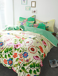 Colorful flowers 4piece bedding sets print duvet cover Sets 100% Cotton Bedding Set Queen Size