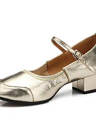 Chaussures de danse(Argent / Or) -Personnalisables-Talon Plat-Cuir-Latine / Moderne