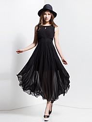 BORME® Damen Rundhalsausschnitt Ärmellos Maxi Kleid-Y04
