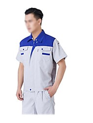 Summer Short-Sleeved Overalls Suit Protective Clothing Welding Aftermarket (Sold Under the Sapphire Blue Light Gray, XL)