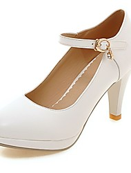 Women's Heels Summer / Fall Heels / Round Toe PU Office & Career / Casual Stiletto Heel Sparkling Glitter / White /